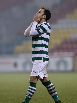 A dejected Sean O'Connor of Shamrock Rovers.