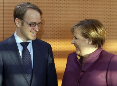 Bundesbank governor Jens Weidmann, pictured with chancellor Angela Merkel last year.