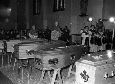 Coffins at a mass held for the victims of Bloody Sunday at St Mary's Church in the Creggan Estate in Derry days after the shooting