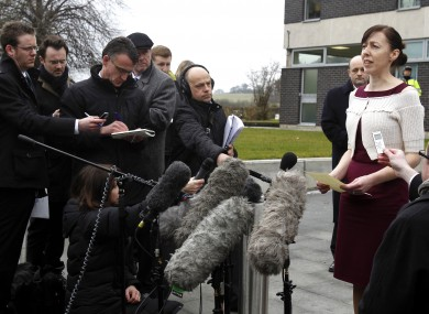 Emma Gowing talks to the media after Clive Sharp pleaded guilty to her sister Catherine's murder.