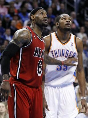 Miami Heat forward LeBron James and Oklahoma City Thunder forward Durant.