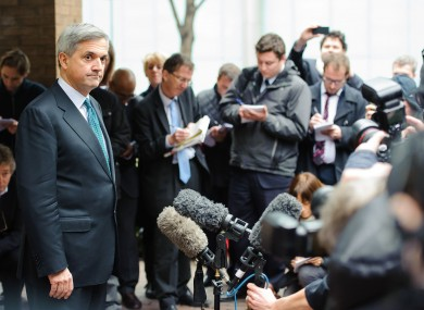 Chris Huhne outside Southwark Crown Court in London today