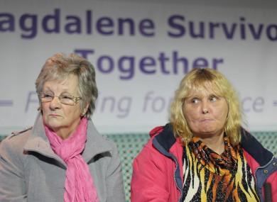 Magdalene survivors Marina Gambold and Mary Smyth at a press conference during the week