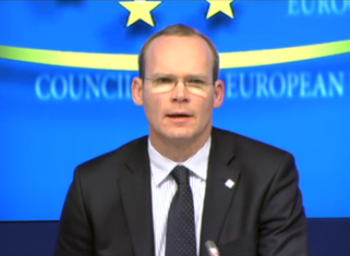 Simon Coveney speaks to reporters after convening today's short-notice meeting in Brussels.