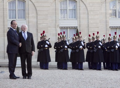 President Michael D Higgins meets French leader Francois Hollande earlier this week