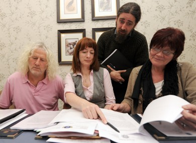 Collins (right) with Flanagan, Clare Daly and Mick Wallace at a press conference about the penalty points controversy last December.