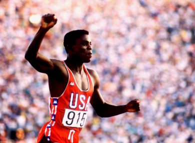 Carl Lewis celebrates his 100m Gold in 1984.