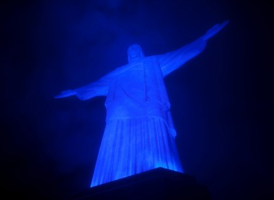 The Christ the Redeemer statue in Rio de Janeiro is lit up in blue to mark World Autism Day in 2011.
