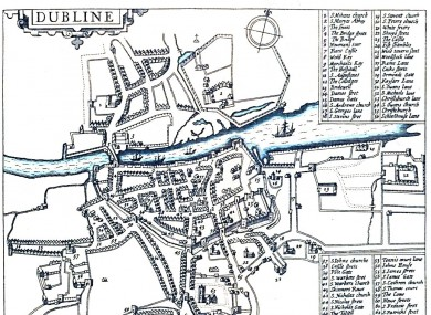 A map of Dublin from 1610. The site of the 1597 explosion is just to the left of the centre.