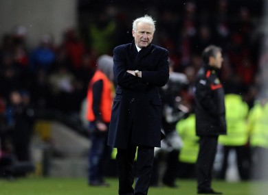 Ireland's Giovanni Trapattoni watches tonight's game.