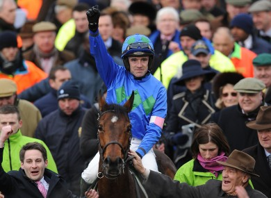 Ruby Walsh celebrates winning on Hurricane Fly.