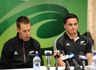Zac Guildford, right, with All Blacks team manager Darren Shand (file photo).