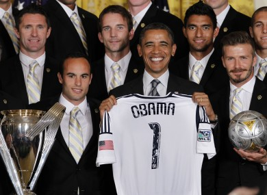 Keane, far left, and his LA Galaxy team-mates presented Obama with a jersey when they met last May.