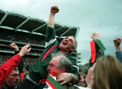 Birr manager PJ Whelehan celebrates their 1998 final triumph.