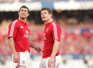 Rob Kearney and Brian O'Driscoll in the Second Test against the 'Boks in 2009.