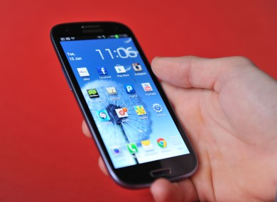Stock photo of a Samsung Galaxy S3 android phone.