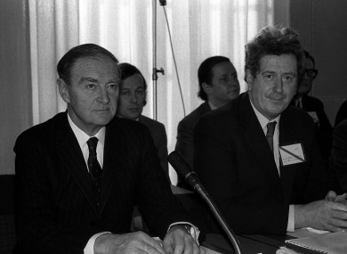 Garret FitzGerald (right), then the Minister for Foreign Affairs, with Taoiseach Liam Cosgrave at the talks that led to the Sunningdale Agreement.