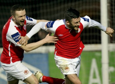 Killian Brennan of Pat's celebrates scoring his sides second goal from a penalty with Conan Byrne.