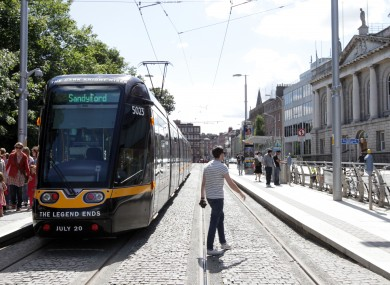 The Luas at Stephen's Green in Dublin