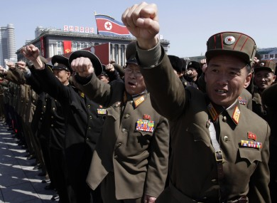 North Korean army officers at a rally at Kim Il Sung Square in Pyongyang in North Korea on Friday