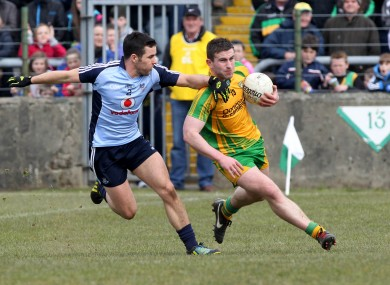 McBrearty in action against Kevin O'Brien during the Ballybofey draw.