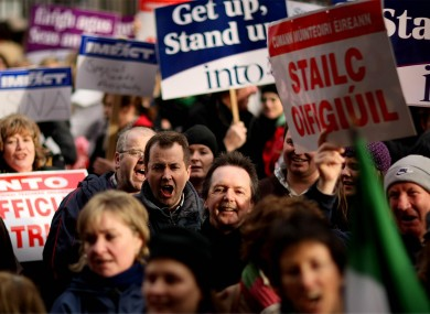 Primary school teachers holding a strike in 2008. Second and third-level teachers are considering a strike if the Croke Park 2 deal is applied to them despite their rejection of it.