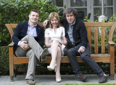 Brian O'Driscoll, Pieta House's Joan Freeman and Stephen Rea at yesterday's Darkness Into Light charity run launch.