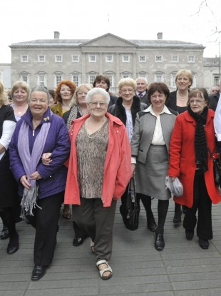 Symphysiotomy survivors leaving Leinster House last month.