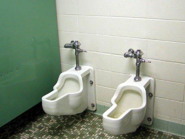Women Flushing The Toilet While Using It