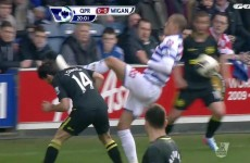 Bobby Zamora sees red for landing a boot to the head of Jordi Gomez