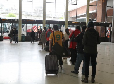 Passengers at Busaras in Dublin yesterday where services returned to normal following the suspension of strike action