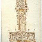 Tabernacle in St. Lawrence's Church, Nuremberg, by A.W.N. Pugin, 1838, currently on display as part of the Irish Architectural Archive's 'Celebrating Pugin' exhibition in the Department of Arts, Heritage and the Gaeltacht headquarters, New Road, Killarney, Co. Kerry.