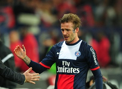 David Beckham leaves the pitch for the last time.