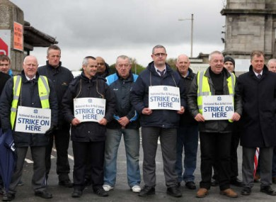 Members of the NBRU picket outside the Bus Éireann depot in Broadstone yesterday.