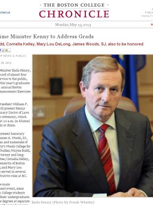 The Taoiseach's profile on the Boston College website