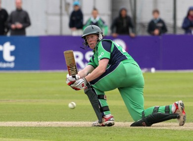 Ireland's Kevin O'Brien hits the final ball of the game.