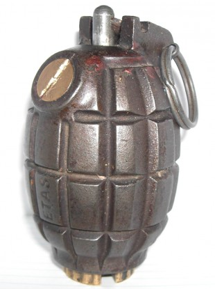 File photo of a Mills-style grenade, similar to the one found in Crosshaven this evening.