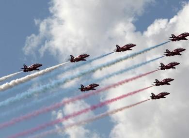 British aerobatics group Red Arrows.