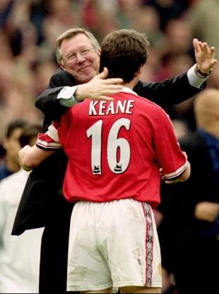 Ferguson and Keane embrace back in 1999.