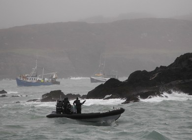 Naval Divers off Adam Island in west Cork during the search in January.