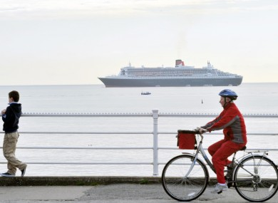 The world's largest ocean liner, the Queen Mary II, docks for the day in Dún Laoghaire on Thursday