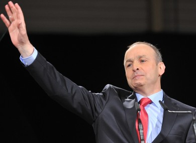 Leader of Fianna Fail Micheal Martin, pictured giving his closing speech at the party's Ard Fheis.