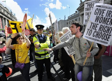 Pro-life and pro-choice protestors clash in Dublin during marches in 2009.