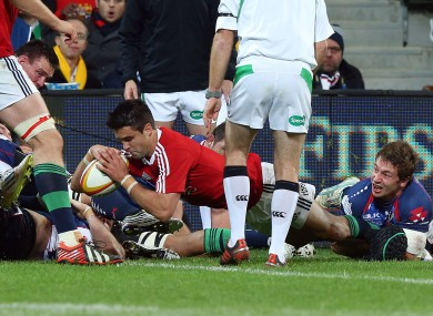 Conor Murray dives over for the opening try.