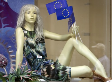 A mannequin with EU flags in a shop in Zagreb, Croatia yesterday