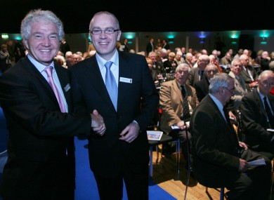 David Drumm (right) with Anglo Irish Bank chairman Sean FitzPatrick at the bank's AGM in Dublin in 2007
