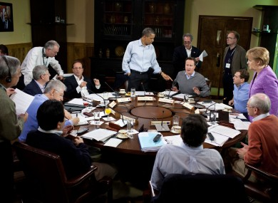 The leaders of the US, UK, Russia, Germany, European Council, European Commission, China, Italy, Canada and France at last year's G8 in Camp David.