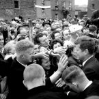 Eager hands stretch put to greet American President John F Kennedy during his visit to New Ross, County Wexford. At Dunganstown, New Ross, is the former home of his great-grandfather, who emigrated to America in 1850. The President was on a three-day visit to the Republic of Ireland.