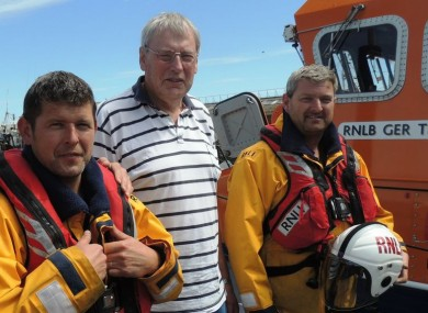 Greg Murphy with Arklow RNLI lifeboat crew (l-r) Michael Fitzgerald, Liam O'Neill and Aidan Downey.