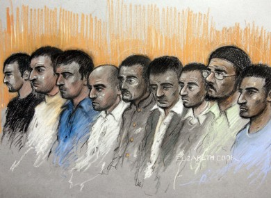 Court artist sketch by Elizabeth Cook of (left to right) Kamar Jamil, Akhtar Dogar, Anjum Dogar, Assad Hussain, Mohammed Karrar, Bassam Karrar, Mohammed Hussain, Zeeshan Ahmed and Bilal Ahmed